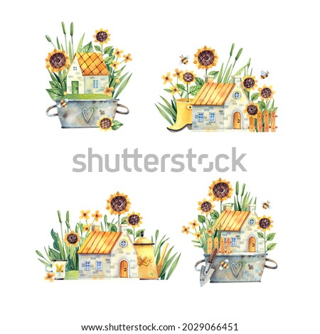 Collection of illustrations of rural houses with flowers, sunflowers, grass, garden tools. Rural clip art isolated on white background. Watercolor illustration of rural houses.