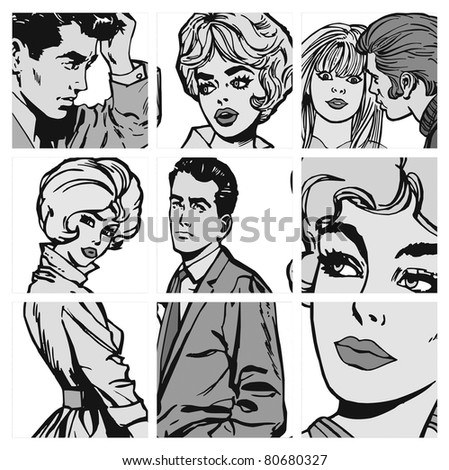 collection of illustrations young couple in love