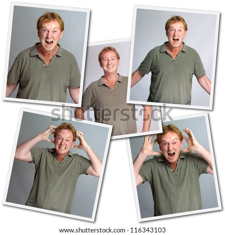 Collection of images of a man with different emotions, anger, laughter