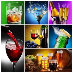 Collection of images of alcohol in different ways. Alcohol background.