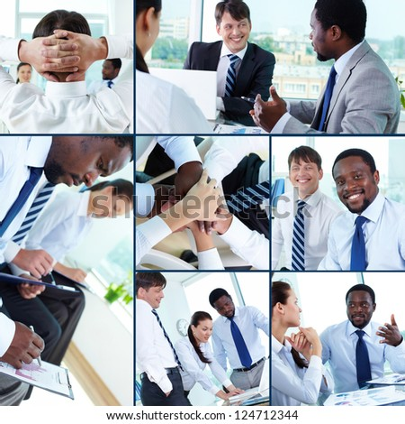Collection of images of businesspeople at work in office