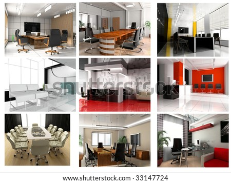 Collection of images of modern office 3d rendering