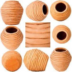 Collection of images with unglazed handmade coiled pottery pot made of red clay isolated on white background. Teracota vase. Pottery basics.