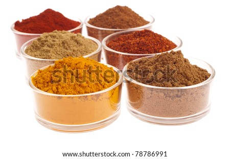 collection of indian spices (cumin, coriander, paprika, garam masala, curcuma, chili powder) on glass cups isolated on white background