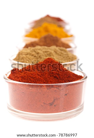 collection of indian spices (cumin, coriander, paprika, garam masala, curcuma, chili powder) on glass cups isolated on white background (shallow DOP, focus on first)