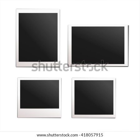Collection of instant photos isolated on white background.