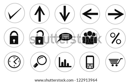 Collection of isolated business, office, internet, shopping buttons on white backgrounds.