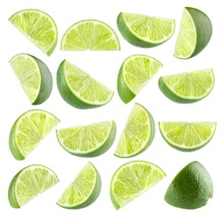 Collection of 16 isolated lime images