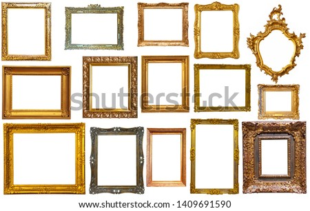 collection of isolated old fashioned empty art frames in different shapes