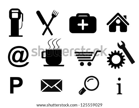 Collection of isolated road service icons on white background.