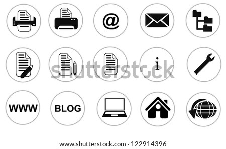 Collection of isolated web site, office, internet buttons on white background