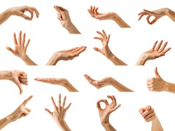 Collection of isolated woman's hands showing different gestures