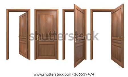 Collection of isolated wooden doors