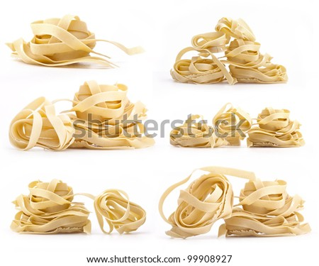 Collection of italian Pasta, Close-up, isolated in white background
