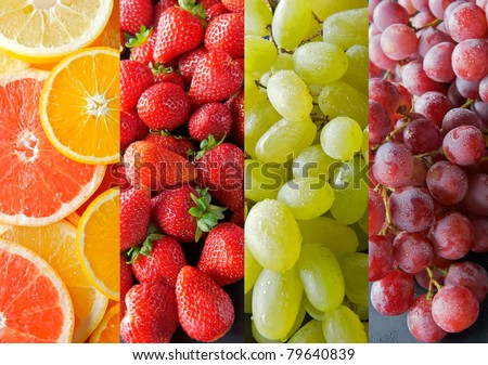 Collection of juicy fruits with strawberries, oranges, grapes, grapefruit, lemon.