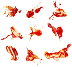 collection of  ketchup stains on white background. each one is shot separately
