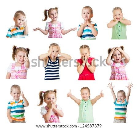 collection of kids with different positive emotions isolated on white background