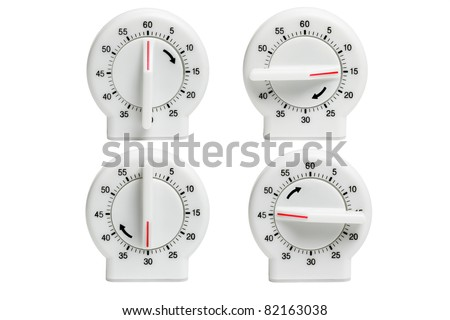 Collection of Kitchen timers showing dial setting at different times on white background