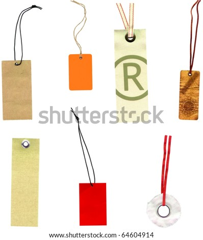 Collection of labels price labels isolated on white