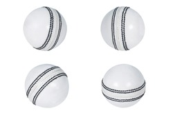 collection of leather Cricket ball hard thread stitch close-up isolated on white background white ball