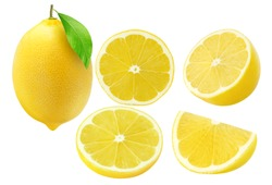 Collection of lemon fruits isolated on white
