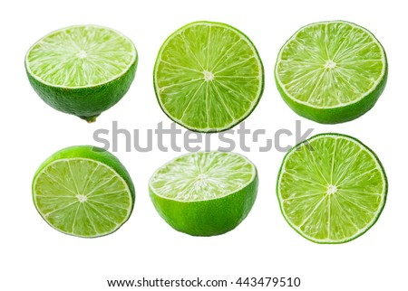 Collection of limes slices isolated on white background #443479510