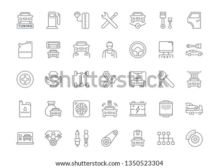 Collection of line gray icons of garage and car service. Set of simple concepts for creative projects and apps. Info graphics elements and pictograms.