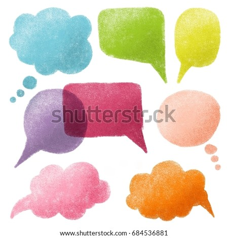 Collection of lovely colorful speech bubbles in cartoon style, isolated on white background.