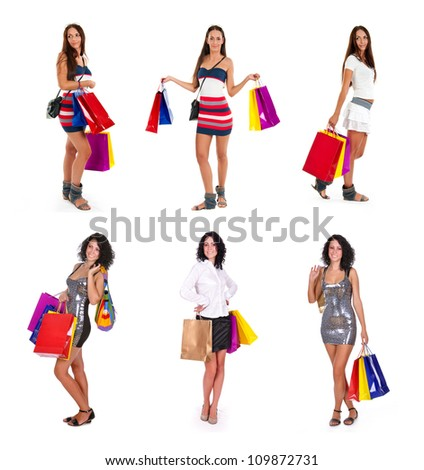 collection of lovely womans with shopping bags over white