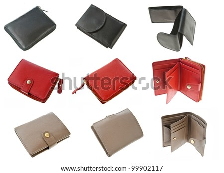 collection of luxury leather wallets