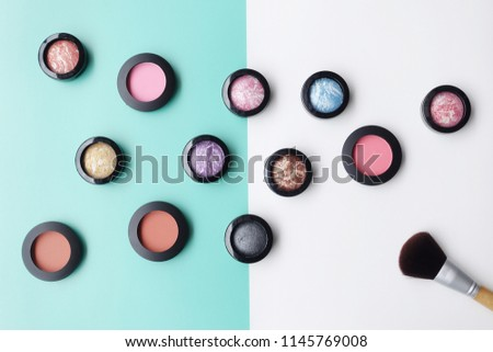 collection of make up and cosmetic beauty products arranged                               #1145769008