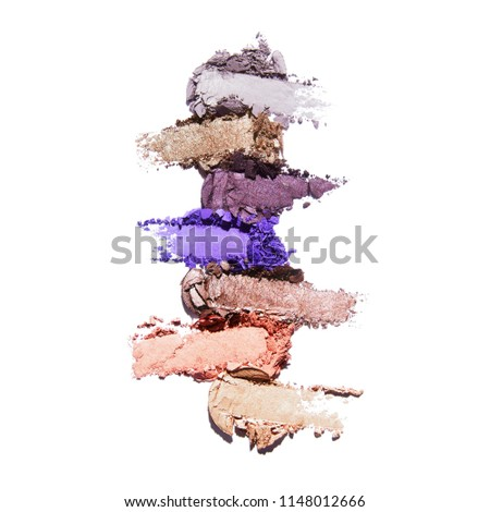 Collection of Makeup Blush Powder Isolated on White Background. Matte Eye Shadow Powder. Grooming Products. Foundation Powder Swatches. Makeup Smudge. Eyeshadow Smears. Makeup Products #1148012666