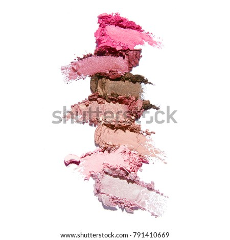 Collection of Makeup Blush Powder Isolated on White Background. Matte Eye Shadow Smears. Grooming Products. Foundation Swatches. Eyeshadow Smudge
