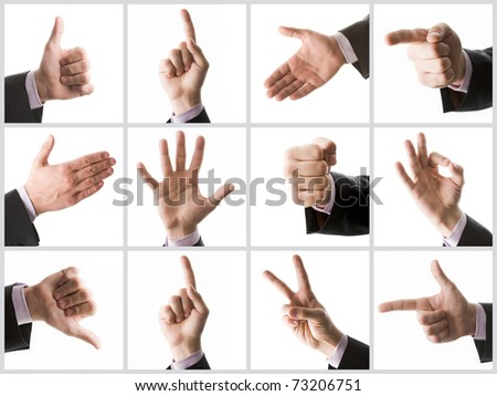 Collection of male hands showing various signs
