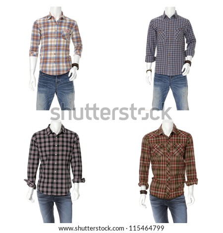 collection of male mannequin dressed in cotton plaid shirt dress - stock photo