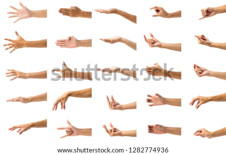 Collection of man's hand gesture isolated on white background. Set of hand gesturing against white background. Carefully cutout by pen tool and include clipping path.