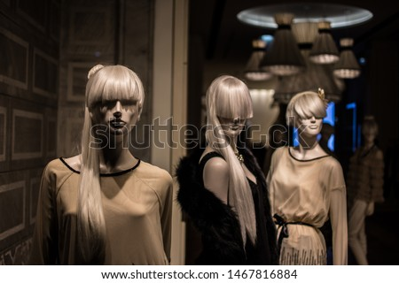 collection of mannequins, hairstyle, texture, pose, fashion