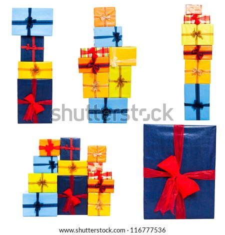 Collection of many colorful gift boxes with ribbon, isolated on white background.