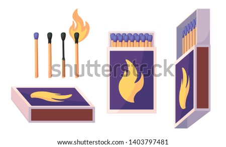 Collection of matches. Burning match with fire, opened matchbox, burnt matchstick. Flat design style.  illustration isolated