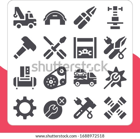 Collection of 16 mechanic filled icons included gear black shape, crane, timing belt, repair, hammer, pliers, wrench, hangar, toolbox, caliper, cross wrench