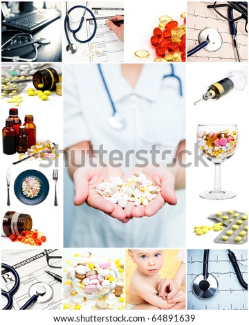 Collection of medical concepts with pills stethoscope syringe etc