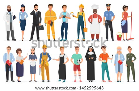 Collection of men and women people workers of various different occupations or profession wearing professional uniform set illustration.