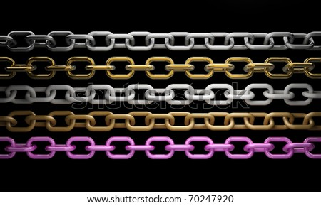 collection of metal chain parts on black background 3d render