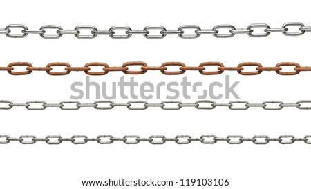 collection of metal chain parts on white background. each one is in full cameras resolution