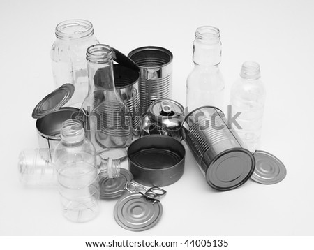 Collection of metal, glass, plastic for recycling