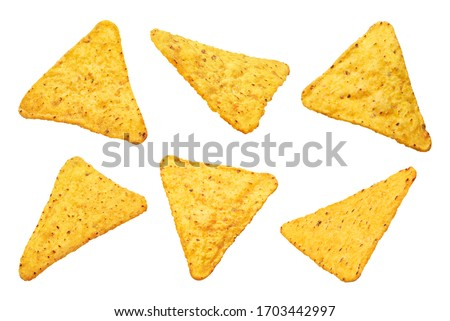 Collection of mexican nachos chips, isolated on white background Foto stock ©