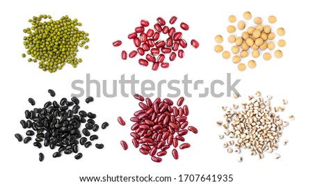 Collection of mix bean ( red kidney, green mung, black bean, soy beans, and millet ) isolated on white background. Top view. Flat lay.