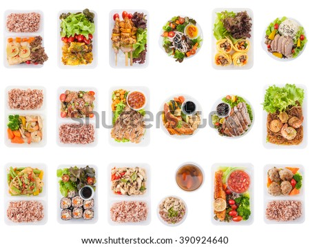 Collection of modern style cuisine cooked by clean food concept including European, Japanese, Thai, and Chinese food style in lunch box isolated on white background