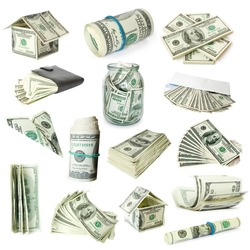 collection of money isolated on white background