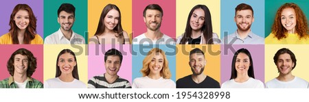 Collection of multiple avatar of happy young people. Smiling men and women faces. Positive human emotion. Concept of variety, diversity and individuality in modern community, panorama